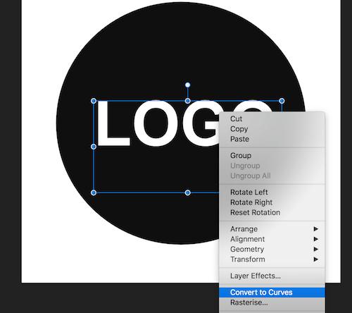 Sådan ændrer du tekst i logo til outlined kurvet tekst