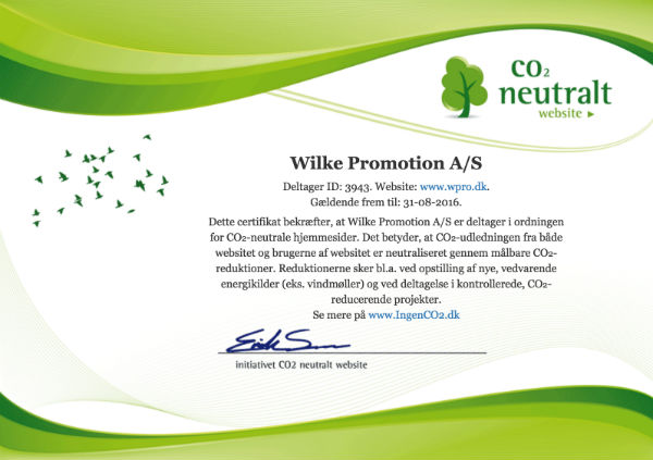 wpro.dk CO2 neutalt website certifikat